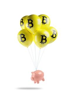 Sparschwein, das mit gelben luftballons mit dem bitcoin-symbol fliegt, das auf einer weißen wand lokalisiert wird.