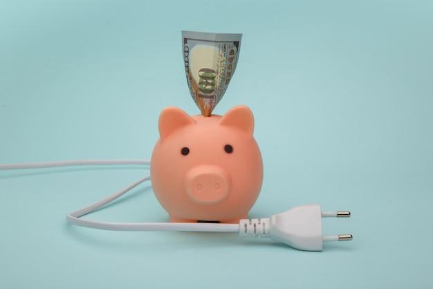 Sparschwein mit banknote und stecker