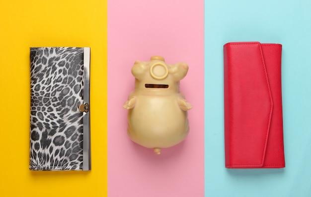 Sparschwein mit brieftaschen auf farbigen.