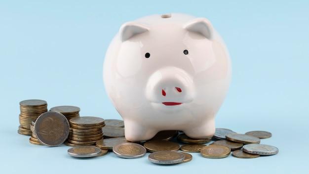 Sparschwein mit bündel münzen