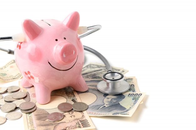 Sparschwein mit dem stethoskop lokalisiert