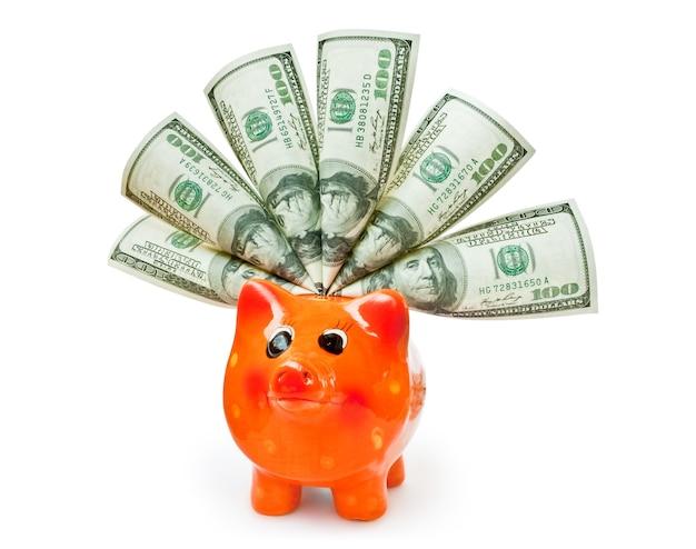 Sparschwein mit geld lokalisiert auf weiß