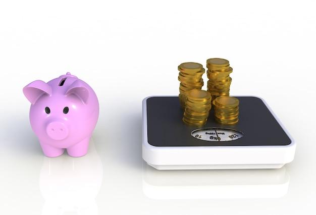 Sparschwein mit goldenen münzen auf einer wiegenden skala lokalisiert auf weißem hintergrund