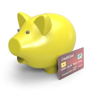 Sparschwein mit kreditkarte