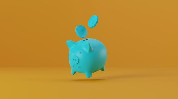 Sparschwein mit münzen auf gelbem hintergrund.