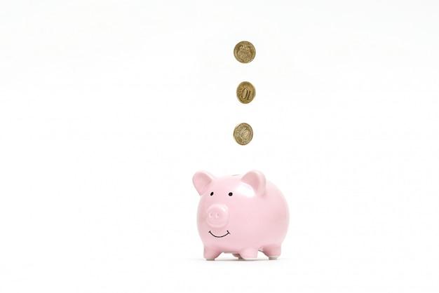 Sparschwein mit münzen auf weiß
