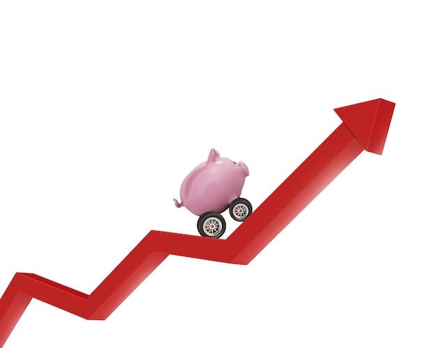Sparschwein mit rad wie ein auto fährt will die flagge erreichen. konzept des schnellen geldzuwachses.