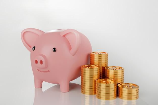 Sparschwein mit stapel goldmünze, 3d rendern.