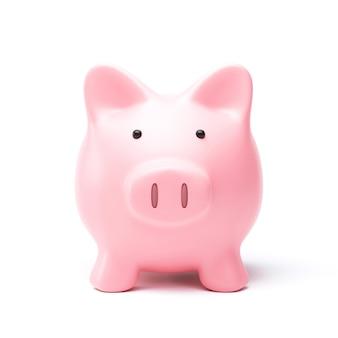 Sparschwein oder sparbüchse lokalisiert auf weißem hintergrund mit spargeldkonzept. rosa sparbüchse und sparidee. 3d-rendering.