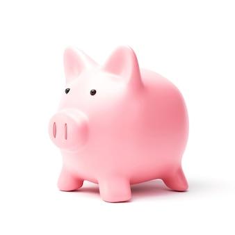 Sparschwein oder sparbüchse lokalisiert auf weißem hintergrund mit spargeldkonzept.