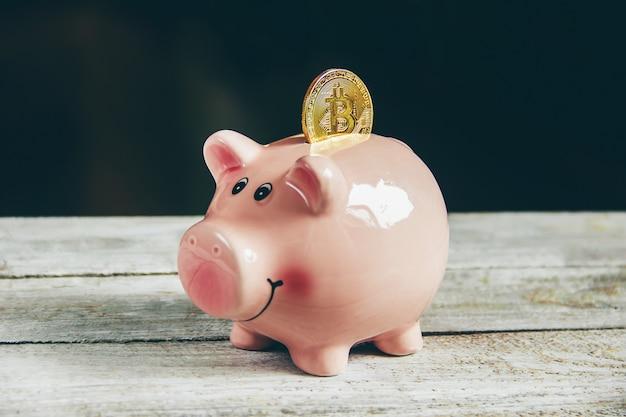Sparschwein und dollar. selektiver fokus
