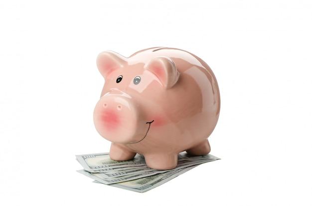 Sparschwein und geld isoliert auf weiß