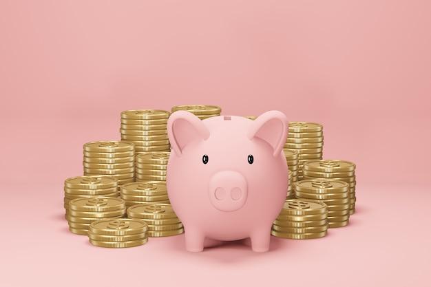 Sparschwein und goldene dollarmünzen auf rosa hintergrund