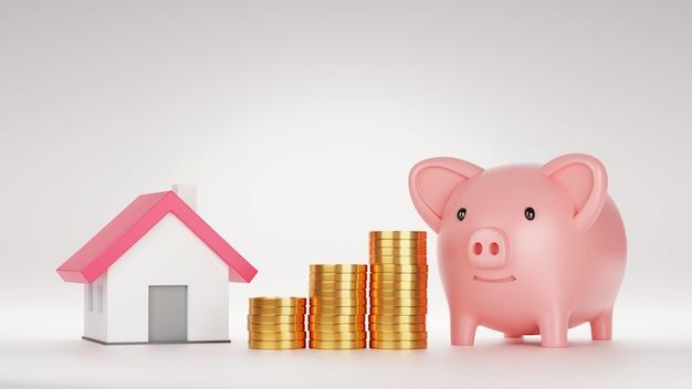 Sparschwein und modellhaus mit stapel goldmünze, 3d-rendering