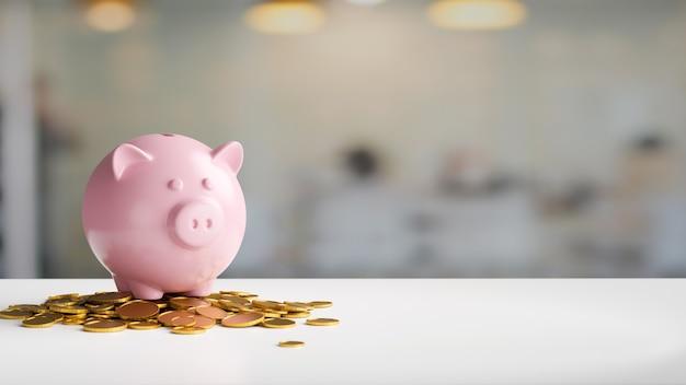 Sparschweinkonzept rosa sparschwein und münzen auf weißem schreibtisch mit kopienraum im unscharfen hintergrund