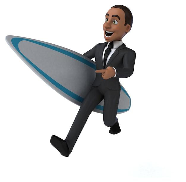 Spaß 3d cartoon geschäftsmann surfen