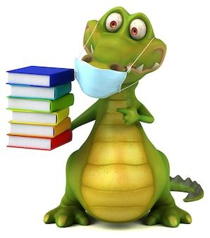 Spaß 3d-cartoon-krokodil mit einer maske
