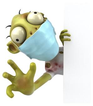 Spaß 3d cartoon zombie mit einer maske