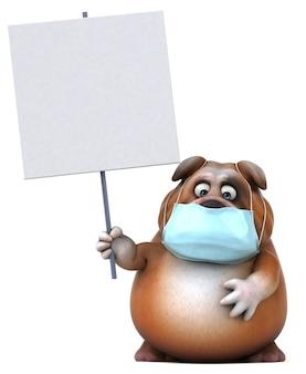 Spaß 3d-illustration einer bulldogge mit einer maske