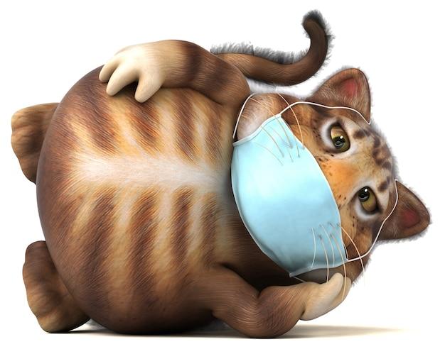 Spaß 3d-illustration einer katze mit einer maske