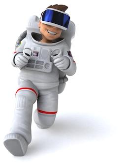 Spaß 3d-illustration eines astronauten mit einem vr-helm