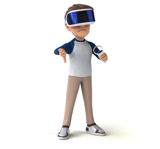 Spaß 3d-illustration eines cartoon-kindes mit einem vr-helm