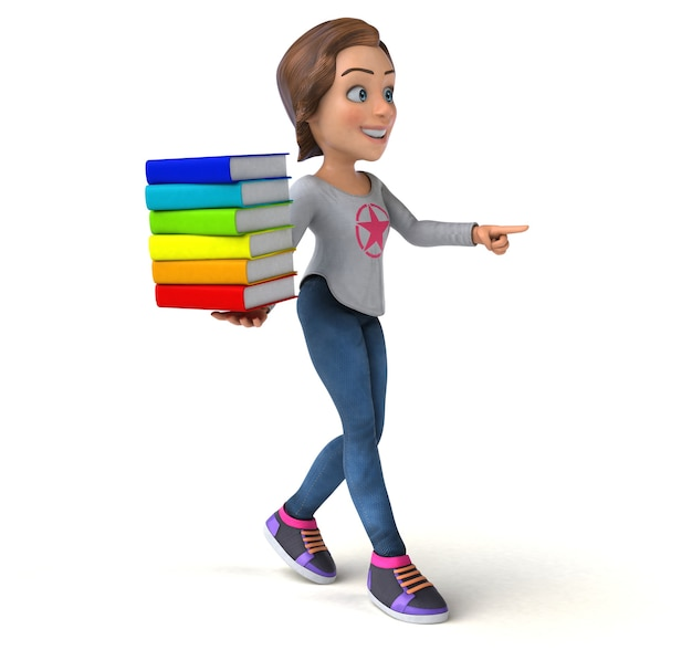 Spaß 3d-illustration eines cartoon-teenager-mädchens