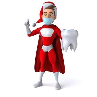 Spaß 3d-illustration eines karikatur-weihnachtsmanns mit einer maske