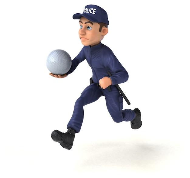 Spaß 3d-illustration eines karikaturpolizisten