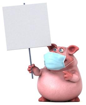 Spaß 3d-illustration eines schweins mit einer maske