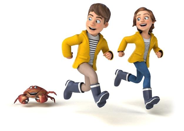Spaß 3d-illustration von karikaturkindern mit einer krabbe
