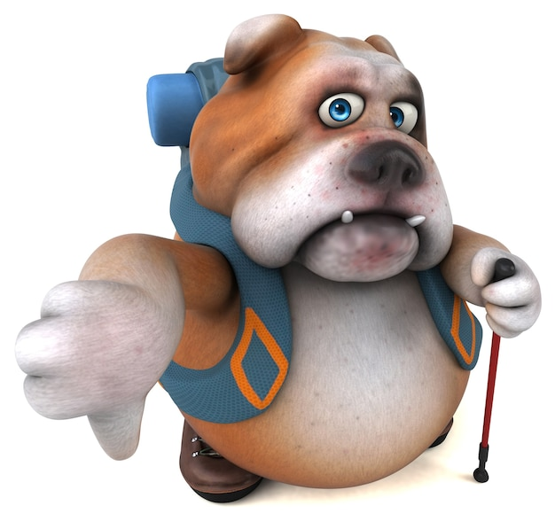 Spaß backpacker bulldogge zeichentrickfigur