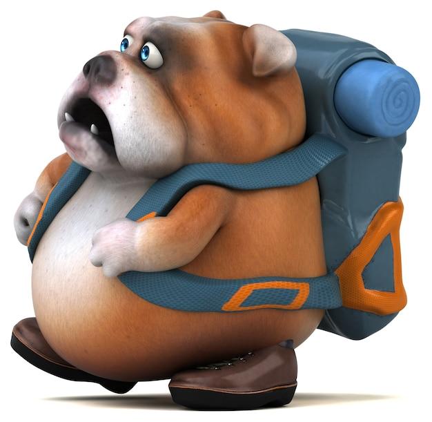 Spaß-backpacker-bulldoggen-zeichentrickfigur