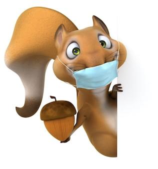 Spaß cartoon eichhörnchen mit einer maske