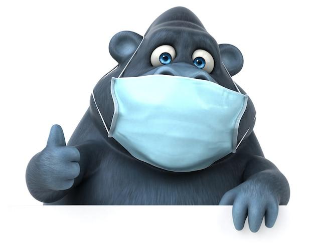 Spaß cartoon gorilla mit einer maske