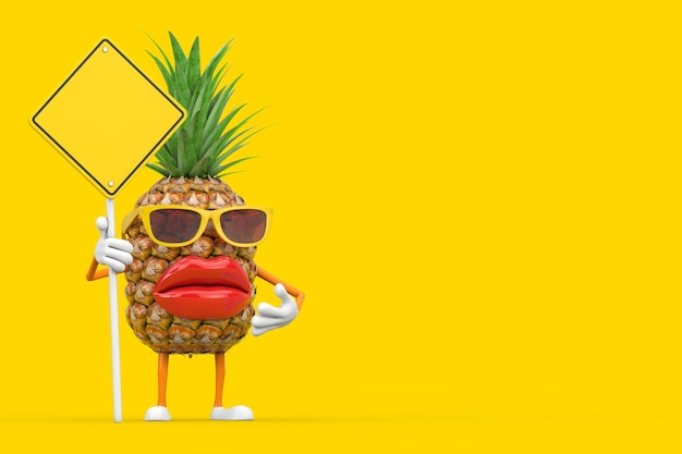 Spaß-cartoon-mode-hipster-schnitt-ananas-person-charakter-maskottchen und gelbes straßenschild mit freiem platz für ihr design auf gelbem hintergrund. 3d-rendering