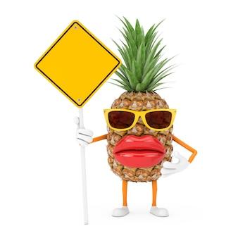 Spaß-cartoon-mode-hipster-schnitt-ananas-person-charakter-maskottchen und gelbes straßenschild mit freiem platz für ihr design auf weißem hintergrund. 3d-rendering