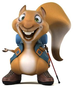 Spaß eichhörnchen backpacker zeichentrickfigur