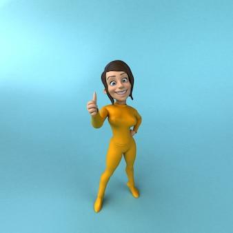 Spaß gelbes mädchen der 3d-karikatur