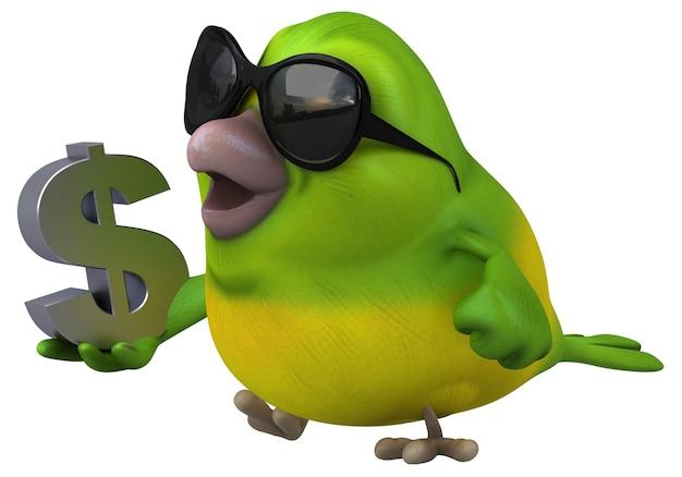 Spaß grüner vogel illustration