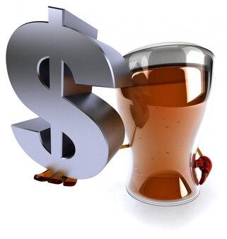 Spaß illustrierte biercharakter, der ein dollarzeichen hält