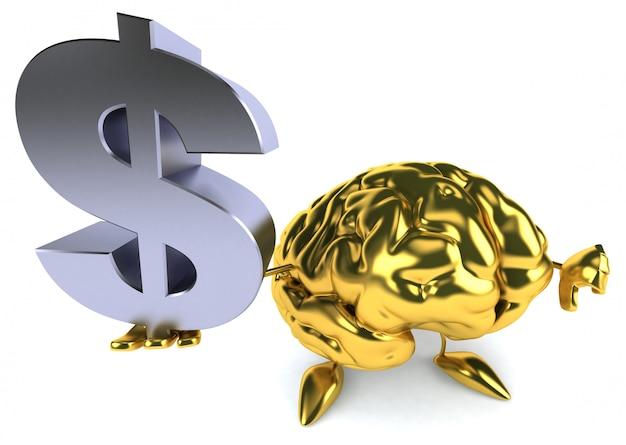 Spaß illustrierte goldenes gehirn, das ein dollarzeichen hält