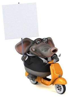 Spaß illustrierter 3d-elefant, der ein plakat auf einem roller hält
