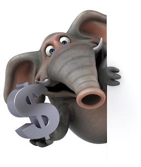 Spaß illustrierter elefant 3d, der ein dollarzeichen hält