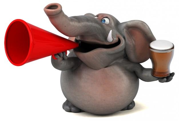 Spaß illustrierter elefant 3d, der ein glas bier und ein megaphon hält