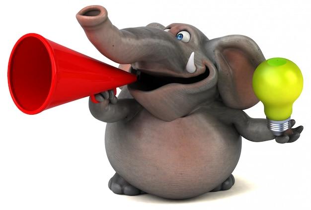 Spaß illustrierter elefant 3d, der ein megaphon und eine glühbirne hält