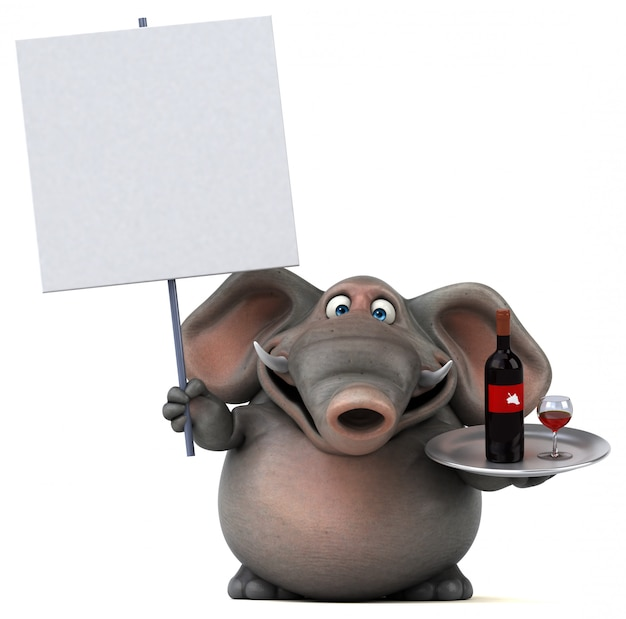 Spaß illustrierter elefant 3d, der ein plakat und ein tablett mit einer flasche wein hält