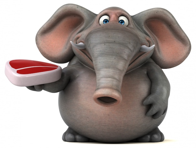 Spaß illustrierter elefant 3d, der ein steak hält