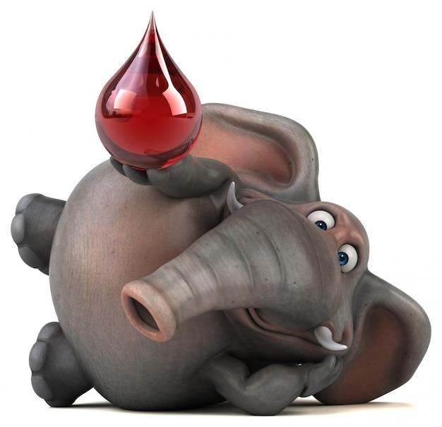 Spaß illustrierter elefant 3d, der ein tröpfchen hält