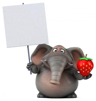 Spaß illustrierter elefant 3d, der eine erdbeere und ein leeres plakat hält